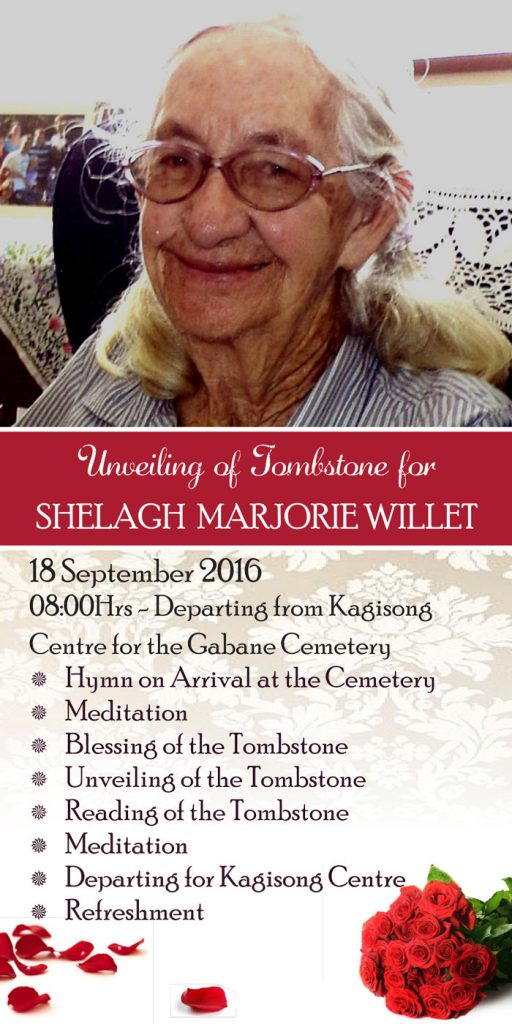 The programme for the unveiling of Shelagh Willet's tombstone.